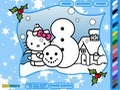 Рождественская раскраска с Хелло Китти